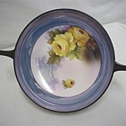 "SALE Noritake Serving Dish 7 1/2"" with Handles Hand Painted Yellow Roses"