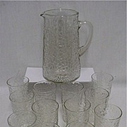 SALE Glass Pitcher and 12 Individual Glasses All Matching