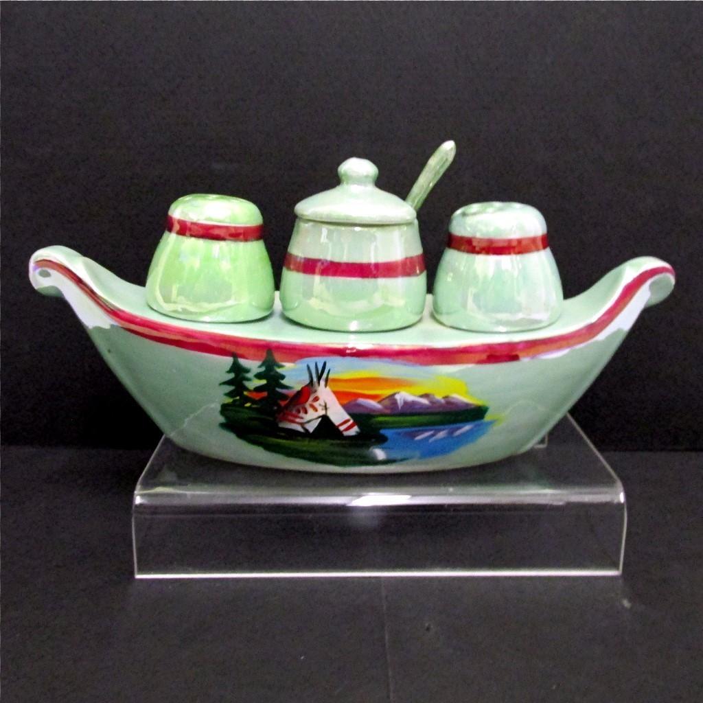 Luster Ware Gondola Condiment Set German Porcelain