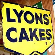 SALE LYONS Cakes Advertising Sign Double Sided Porcelain