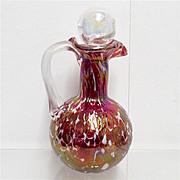 SALE Antique Glass Cruet American Red Iridescent