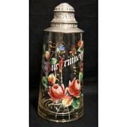 SALE Beer Stein Antique Glass  German Hand Painted Tankard
