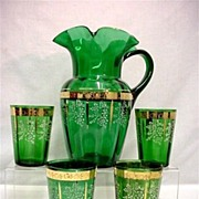 SALE Lemonade or Water Set Antique American Glass Pitcher and 4 Glasses