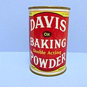 SALE Davis Baking Powder 12 oz. Advertising Tin