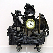 REDUCED Large Cast Iron Clipper Ship Clock