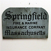 SALE Insurance Advertising Sign Springfield Fire and Marine 50% OFF