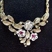 SALE Diamond & Garnet Gold Necklace Circa 1890-1917
