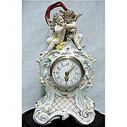 SALE Antique German Ludwigsburg  Porcelain Clock Under Glass Circa 1758 - 1793