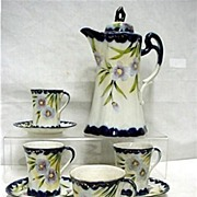 SALE Cobalt Porcelain Chocolate Set