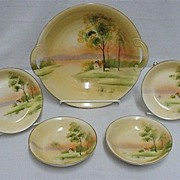 Nippon Porcelain  Hand Painted  Master Bowl and Four Servings