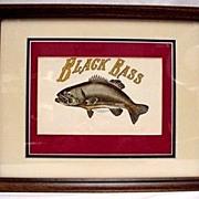 SALE Black Bass Framed Print Lithograph 50% Off