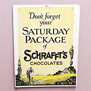 SALE Advertising Sign Schrafft's Chocolate  Candy Sore Window Display