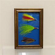 SALE Weber Fly Fishing Flies Set of Three Framed