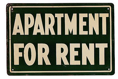 bargain tin sign apartment for rent from drury on ruby lane. Black Bedroom Furniture Sets. Home Design Ideas