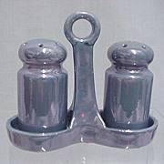 REDUCED Blue Luster Salt & Pepper in Lusterware Tray  3 Sets  $14 each