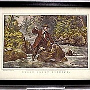 Brook Trout Fishing Currier & Ives Print