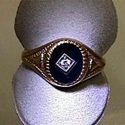 SALE Onyx and Diamond 9 Carat Gold Antique Ring
