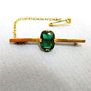 SALE 9 Carat Gold Bar Pin with Safety Chain