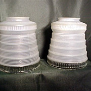 SOLD Antique Drop Light Glass Shades Matching Pair