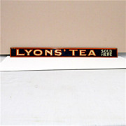 SOLD LYONS Tea Sold Here Store Display Advertising Sign