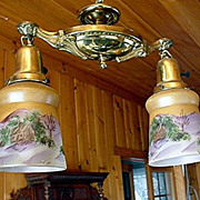 Victorian Two Drop Light Ceiling Fixture one of a pair $295