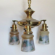 3 Drop Light  Hanging Light  Circa  1900 Matching Hand Painted Shades  $495