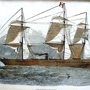 SALE Stone Lithograph of the Himalaya Steamship Framed