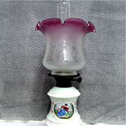 Porcelain Base Oil Lamp with Chimney and Shade  $495