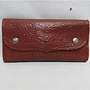 SALE Hand Tooled Leather Fly Wallet