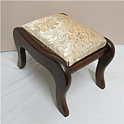 SOLD Footstool Sabre Leg with Satin and Silk Covered Top Foot Stool