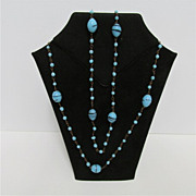 """Necklace Turquoise Beads and Balls 56"""" long"""