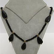 Art Nouveau Necklace Stylized Black Leaves