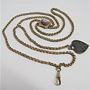 SALE Watch Chain with Cameo Slide and Fob