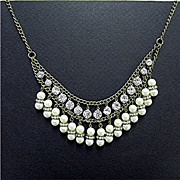 SALE Rhinestone and Faux Pearl Double Strand  BIB Necklace