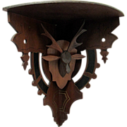 SALE Stag Head Corner Shelf Hand Carved Circa 1880 No Damage