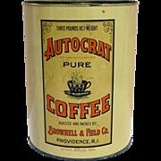 Autocrat Pure Coffee 3 Lbs Advertising Coffee Tin
