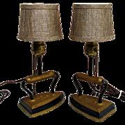 SALE Sad Iron Lamps Matching Pair