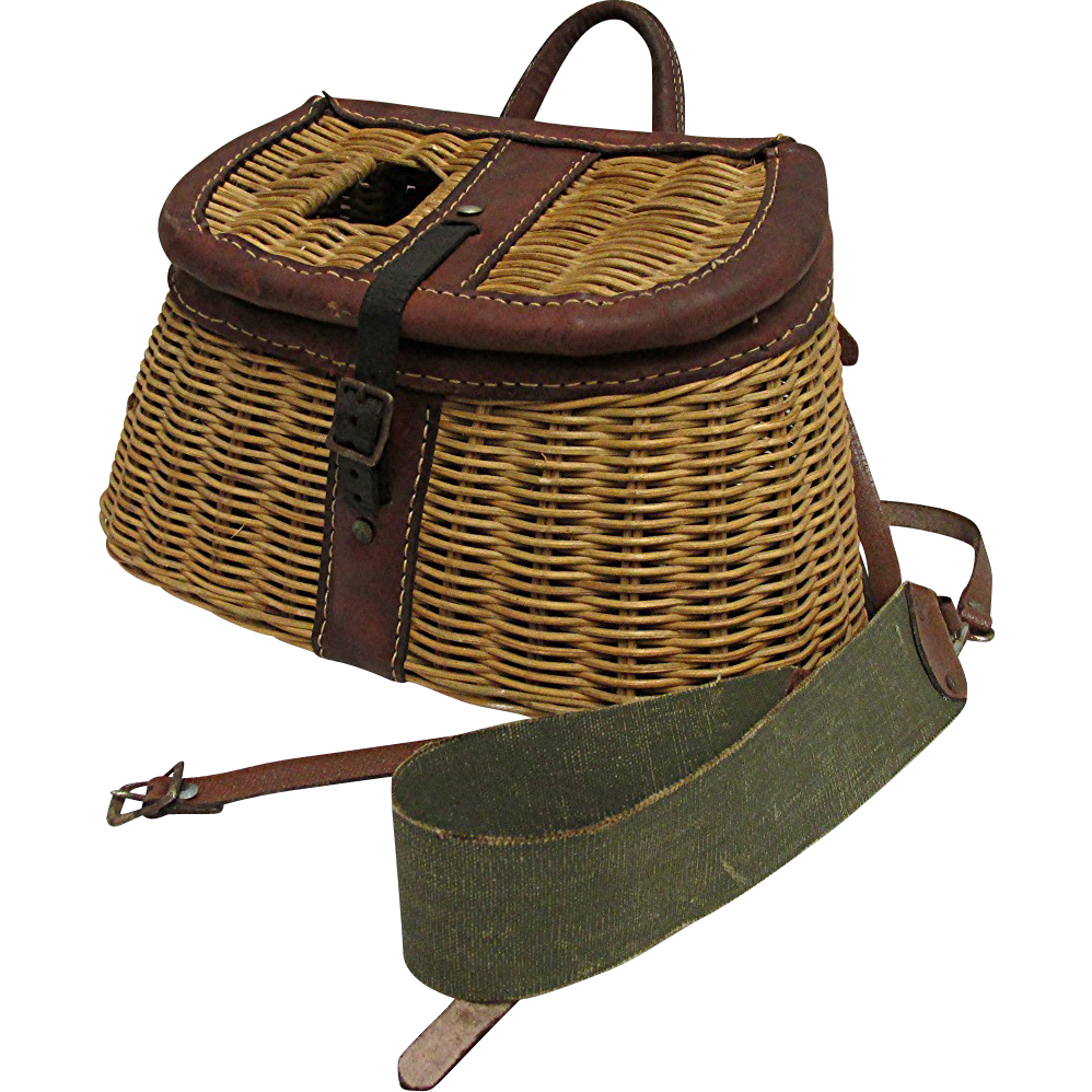 Leather bound fishing creel 50 off from rubylane sold on for Sound bound fishing