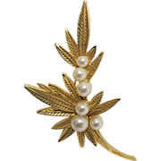 Jomaz  Leaf Pin or Brooch with Six Simulated Pearls