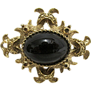Pin or Brooch with Simulated Onyx Center Stone