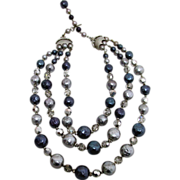 Three Strand Necklace Crystals, Rhinestone, Blue, Gray Beads