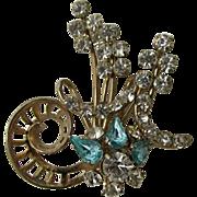 Aqua and White Rhinestone Floral Pin