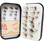 REDUCED Fly Box by Wheatley of England with 34 Flies