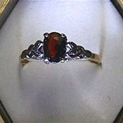 SALE Garnet Ring Circa 1900 Antique Gold land Silver Setting Ring Size 8 3/4