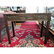 SALE Carved Oak Hall Table