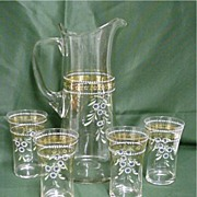 SALE Antique Czech Glass Water or Lemonade Set  Pitcher and 4 Glasses