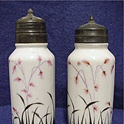 SALE Salt and Pepper Set Antique American Glass Hand Painted Shakers