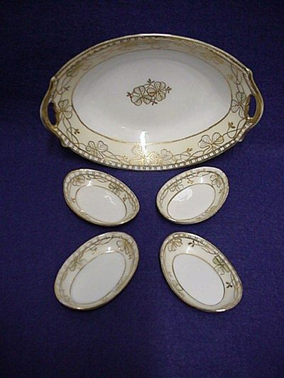Relish Set Nippon Porcelain White and Gold Pattern