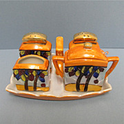 SALE Nippon Porcelain Condiment Set Complete with Tray