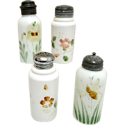 SALE Shakers Four American Opalware Glass Circa 1890